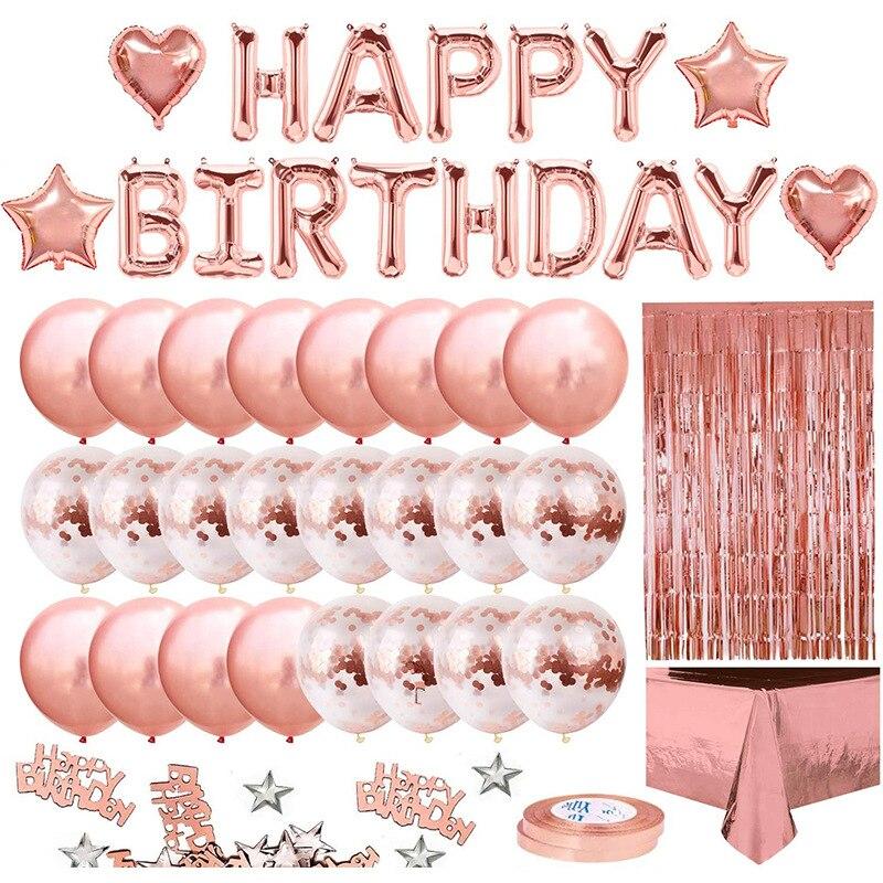 Festa de aniversário decoração para meninas feminino feliz aniversário banner rosa ouro franja cortina folha toalha de mesa decorações do chuveiro do bebê