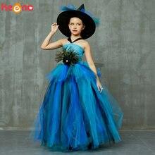 Элегантный костюм с перьями павлина, пышное многослойное платье-пачка с пачкой павлина для девочек с шляпой ведьмы, детское нарядное бально...