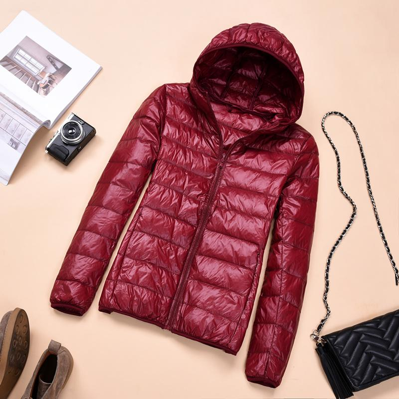 2018 Womens Autumn Jackets Fashion Ultra-thin with Hooded Ladies Slim Coats Plus Size 4XL 5XL 6XL 90% Duck Down Female Tops Coat 1