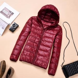 Image 2 - 2018 Womens Autumn Jackets Fashion Ultra thin with Hooded Ladies Slim Coats Plus Size 4XL 5XL 6XL 90% Duck Down Female Tops Coat