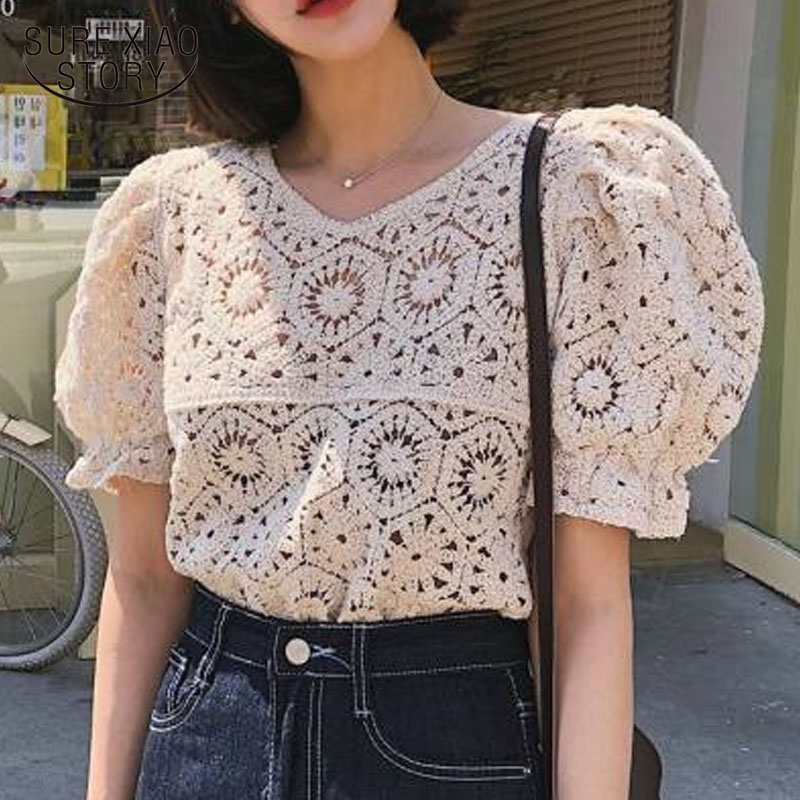 2020 Spring And Summer Solid Cotton Sweet Puff Sleeve Knitted Shirt Women Hollow Out Sexy V-neck Short Sleeve Women Tops 9591