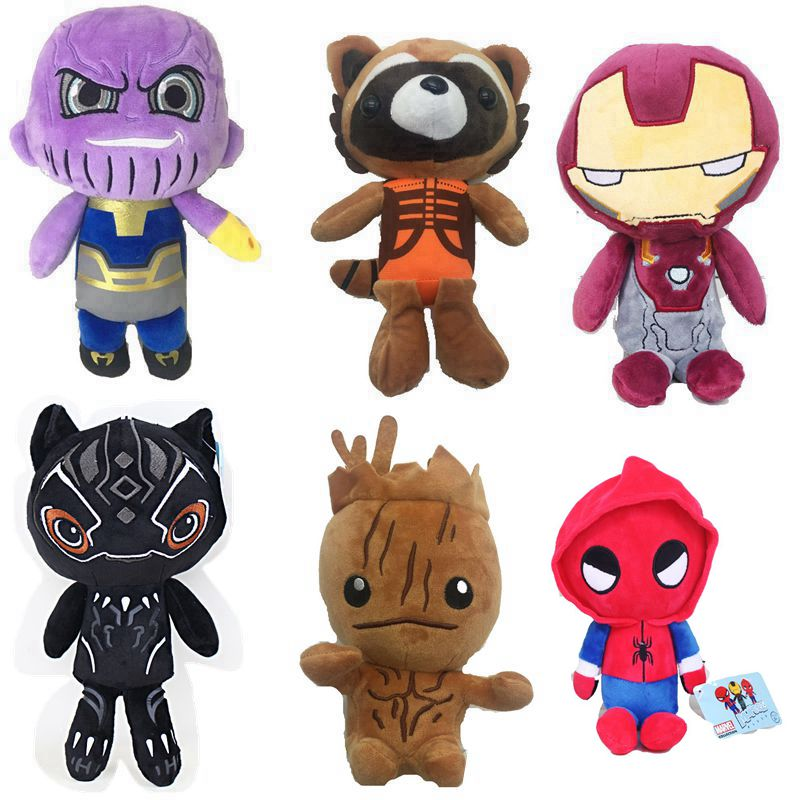 Marvels The Guardians Of Galaxy Plush Toy Avengers Iron Man Thanos Rocket  Black Panther Stuffed Animals Toy