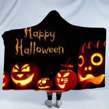 Halloween Hooded Blanket For Adults Childs Sherpa Fleece Bed Winter Wearable Warm Throw Home Travel Sofa