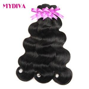 Brazylijski włosy typu Body Wave naturalny kolor splot wiązek 100% człowieka włosy wyplata 1/3/4 sztuka 8-30 32 cal doczepy z włosów typu Remy Mydiva