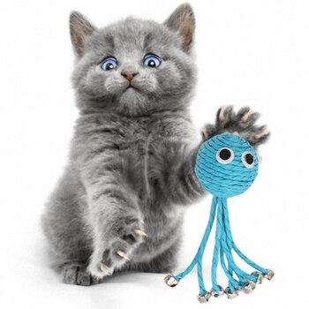 Juguetes De Gato con forma de pulpo azul lindo cuerda tejida juguetes con campanillas gatito interactivo arañazos bolas morder, jugar juguetes de entrenamiento