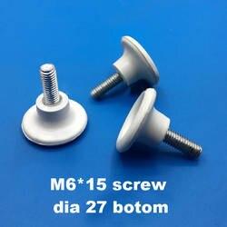 Белый черный M6 * 15 винт на ножной коврик Регулируемая ширина основания 27 мм винт в мебельном шкафу стол выравнивание скольжения ноги