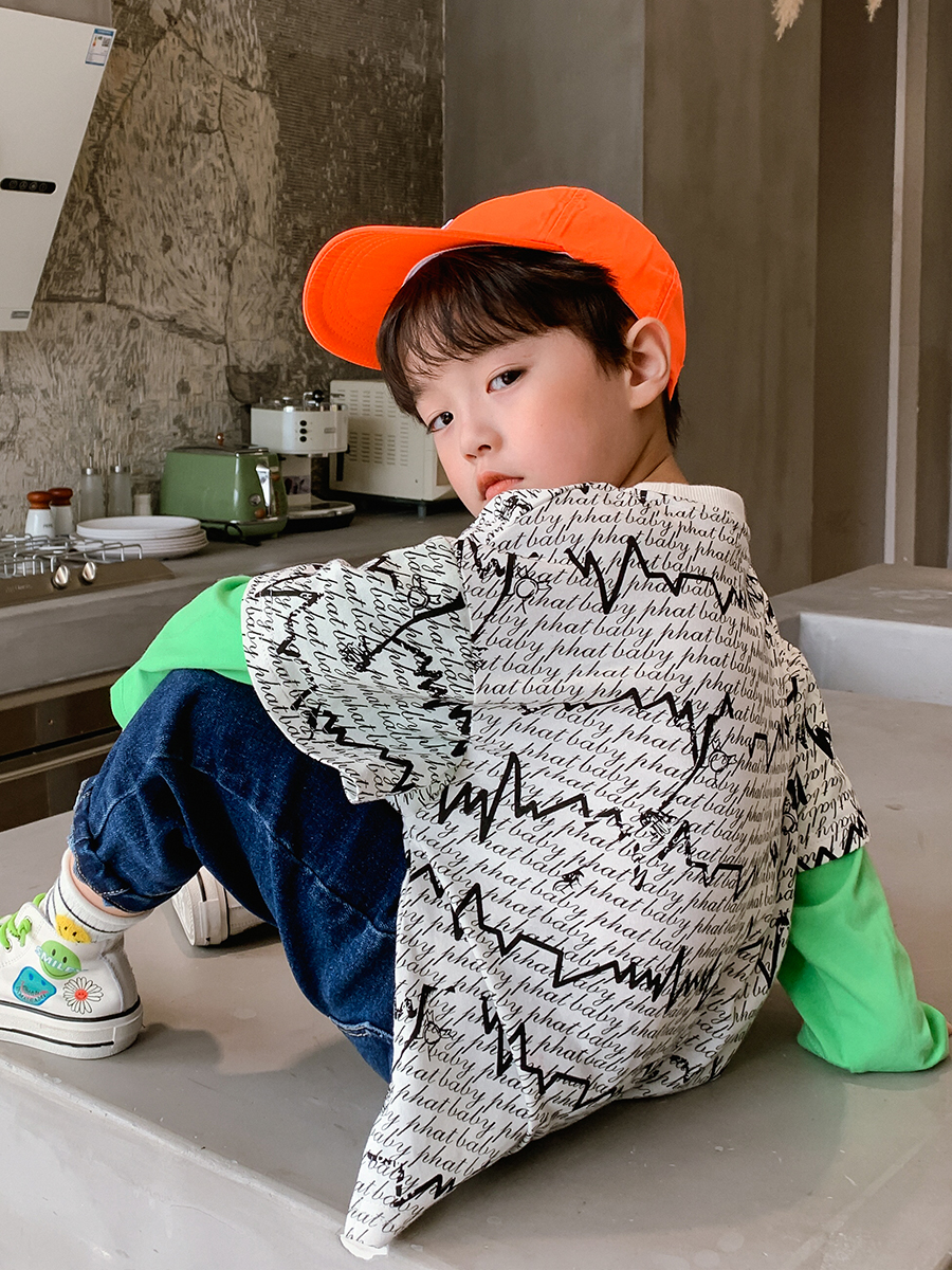 Pure Cotton Boy Printed Fake Two-Piece Long-Sleeved T-shirt Big Boy Baby 2020 New Style Western Style Autumn Korean Style Shirt 3