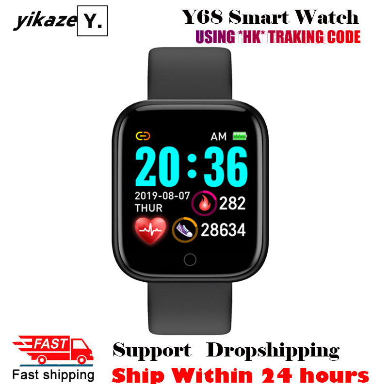 2020 Y68 Smart Watch Men Women Fitness Tracker Heart Rate Blood Pressure Monitor D20 Sport Smartwatch Clock For Android IOS(China)