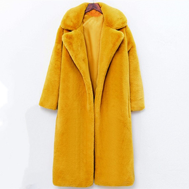 Winter Faux Fur Teddy Bear Long Thick Coat Women Fake Fur Fluffy Warm Pink Lapel Furry Jackets Female plus size Yellow Overcoat