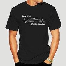 Druck T-Shirt Mens Short T-Shirt SPORTBOOT-HERZSCHLAG Herz Siviwonder Motorboot Boot Geschenk Oansatz Hipster Tshirts-3784D