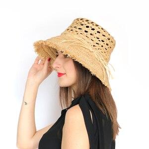 Женская летняя соломенная шляпа с широкими полями, Пляжная Шляпа Fedora UPF50 +