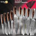 Küche Messer Chef der Japanischen Set 7CR17 440C High Carbon Edelstahl Stahl Damaskus Zeichnung Gyuto Fleisch Cleaver Slicer Santoku Werkzeuge