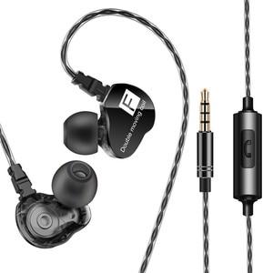 QKZ наушники в ухо Проводные Наушники Hi-Fi стерео гарнитуры двойной привод тяжелый бас наушники с микрофоном спортивные беговые наушники