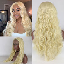Bombshell Golden Corn Roll Wig 13*3 Synthetic Mesh Loose Curly Half Hand Tied Forehead Wig Without Glue Heat Resistant(China)