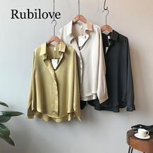 Rubilove 2019 spring new style temperament casual satin shirt women long-sleeved loose solid color