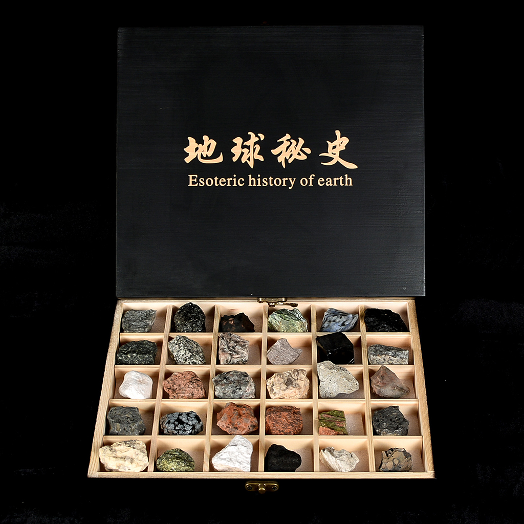 Rock Science Kit - 30PCS/Box Magmatic Rocks Mineral Specimens Kits - Geology Educational Collection