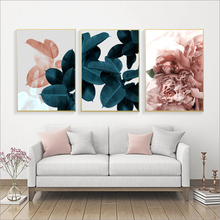 Get more info on the Modern Abstract Pink Flower Green Plants Poster Print Canvas Painting Pictures Home Wall Art Decoration Can Be Customized