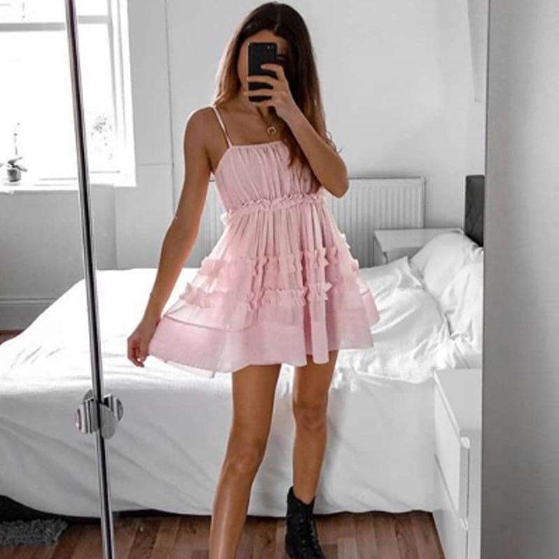 2020 Gauze Spliced Mini Dress Pink Summer Dress 2020 Women Sexy Sleeveless Camis Vestidos