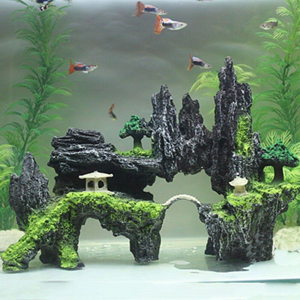 Non-Toxic Aquarium Decoration Rocks Mountain Rock Cave Tree Bridge Fish Tank Ornament