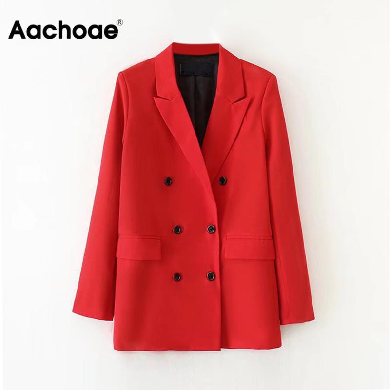 Elegant Women Double Breasted Office Blazers Notched Neck Pockets Red Coat Long Sleeve Solid Jacket Female Marynarka Damska
