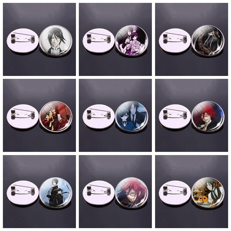 Fashion Anime Black Butler Glass Dome Brooch Badge Kuroshitsuji Ciel Phantomhive Sebastian Grell Madame Red Gift