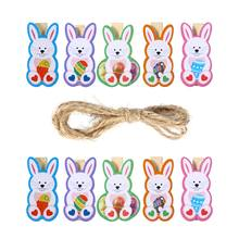 10pcs Lovely Rabbit Wooden Pegs Photo Clips Note Memo Card Holder Easter Party Favor(China)