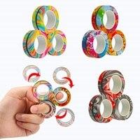 Anillo magnético antiestrés para niños y adultos, juguete antiestrés, pulsera, anillo magnético, giratorio