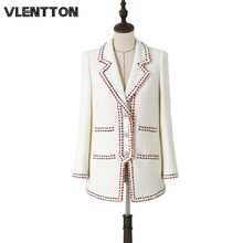 2020 Spring Autumn White Vintage Plaid Wool Tweed Blazer Women Chic Button Suit Coat Female Jacket Tops Office Blazers Feminino