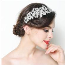 Роскошные серебряные цветы хрустальные свадебные диадемы головной убор ручной работы Свадебная лента для волос повязка на голову свадебные аксессуары для волос