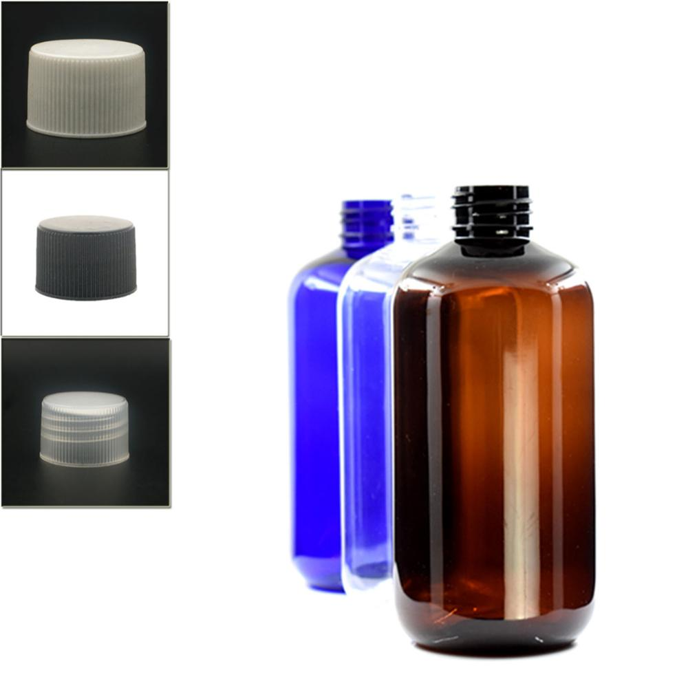 250ml Empty Non-Dispensing Boston Round Plastic Bottle , Clear Pet Bottle With White/black/transparent Ribbed Pp Lid