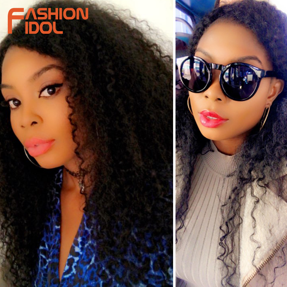 FASHION IDOL Afro Kinky Curly Hair Bundles 7pcs/pack 22-26inch Ombre Nature Black Color Synthetic Hair Weave Bundles Curly Hair