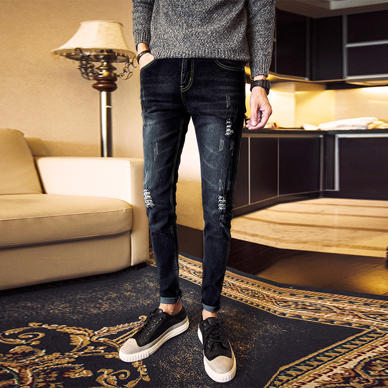 Autumn New Style Men's With Holes Jeans Young MEN'S Elasticity Skinny Slim Women's Retro Long Pants
