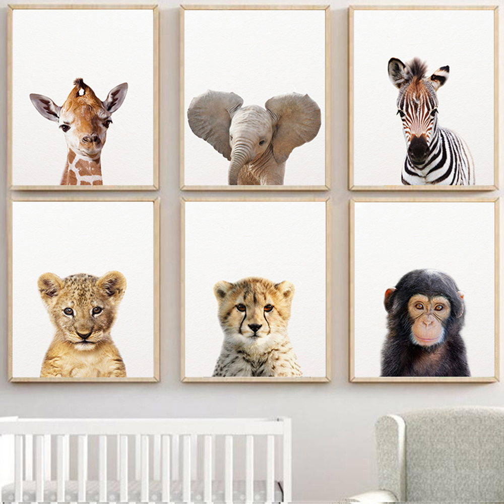 Safari Baby Animals Canvas Poster