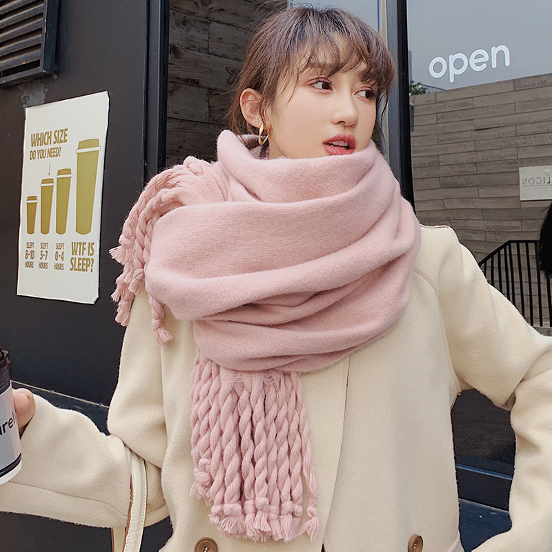 Brand Scarf Female Winter Korean Version Versatile Double-sided Solid Color Shawl Student Long Thick Braid Thickened Warm Neck