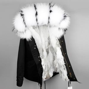 Image 1 - OFTBUY 2020 מעייל נשים אמיתי parka פרווה מעיל גדול טבעי דביבון פרווה צווארון ברדס ארנב פרווה מעיילים חם עבה