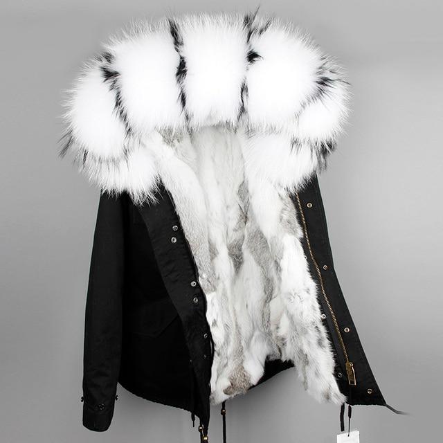 OFTBUY 2020 מעייל נשים אמיתי parka פרווה מעיל גדול טבעי דביבון פרווה צווארון ברדס ארנב פרווה מעיילים חם עבה