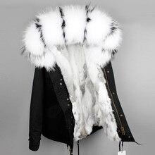 OFTBUY Chaqueta de invierno para mujer, parka de piel auténtica, gran cuello de piel natural, de mapache con capucha, parkas de piel de conejo, cálidas y gruesas, 2020