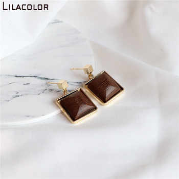Lilacolor Wooden Vintage S925 Silver Pins Women Drop Earrings Small Dangle Earring Square Wood Fashion Jewelry Accessories