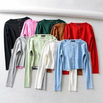 Vintage Long Sleeve Cropped Cardigan Women White Black Cardigan Korean Button Knitted Sweater Streetwear Winter Clothes Women