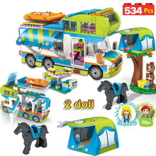 534pcs City Outing Camper Bus Car Girls Figures Building Blocks Compatible Legoinglys Friend Bricks Educational Toys for Girls(China)
