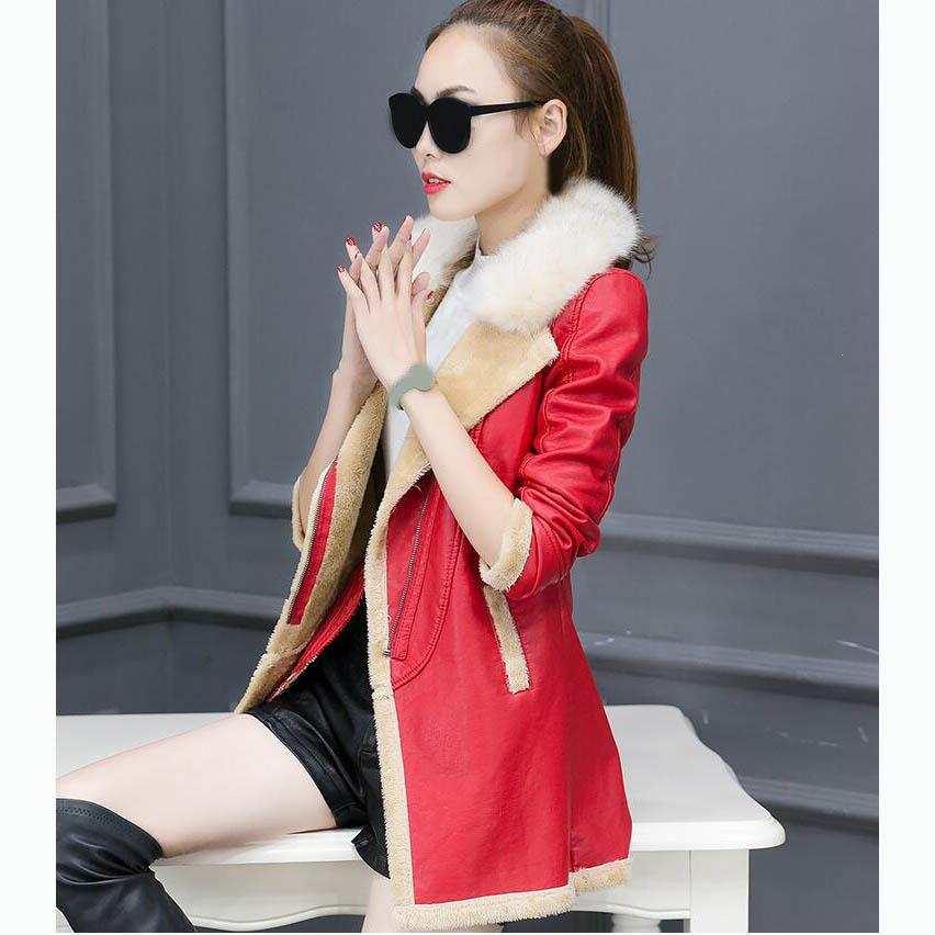 Winter Autumn Women Faux   Leather   Jacket Female Fur Collar   Suede   Coat Casual Long Sleeve Motorcycle Pu Coat