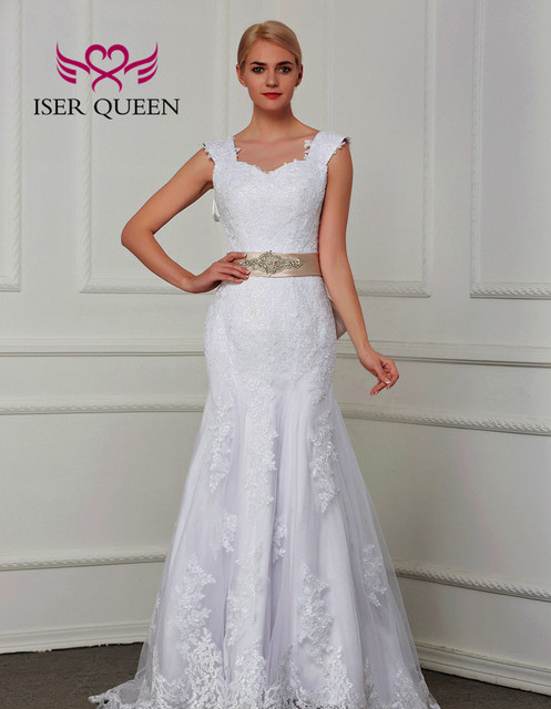 Çift omuz Cap Sleeve dantel Mermaid düğün elbisesi es kanat saf beyaz Custom Made büyüleyici gelin düğün elbisesi W0070