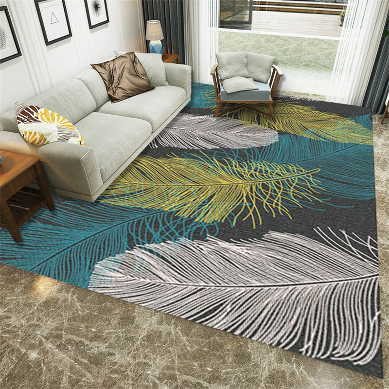Feather Printed Modern Carpets For Living Room Home Bedroom Bedside Blanket Doormat Outdoor Parlor Large Rug Floor Mat Anti-slip