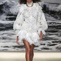 Lace White Runway Designer Dress Zimm Brand Lantern Long Sleeve Boho Hollow Out Sexy High Quality Women Dress European Style