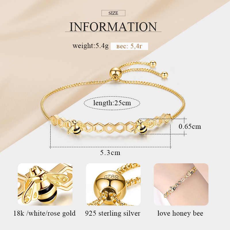 KALETINE Honey Bee 925 Sterling Silver Bracelets For Women Heart Luxury Love Comb Bee Men Women Tennis Bracelet Gold Jewelry
