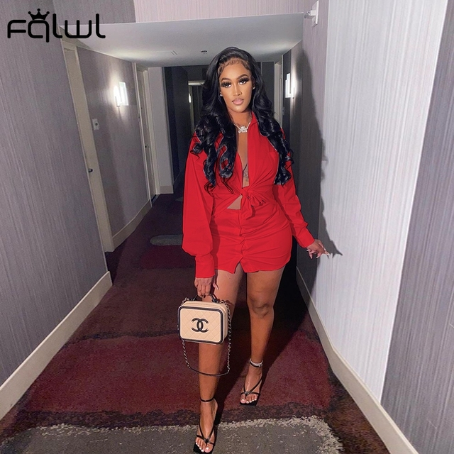 2 Piece Set Women Crop Top and Skirt Sexy Club Outfits Long Sleeve Bodycon 4