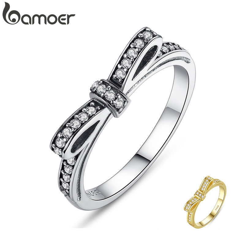 BAMOER HOT 925 Sterling Silver Sparkling Bow Knot Stackable Ring Micro Pave CZ for Women