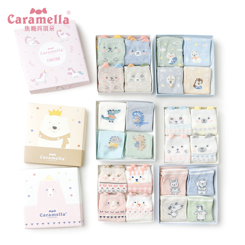 Caramella New Summer Sock Women Three-Dimensional Cartoon Kawaii Ankle Cotton Breathable Comfort Sox Female Hosiery Box 4 Double