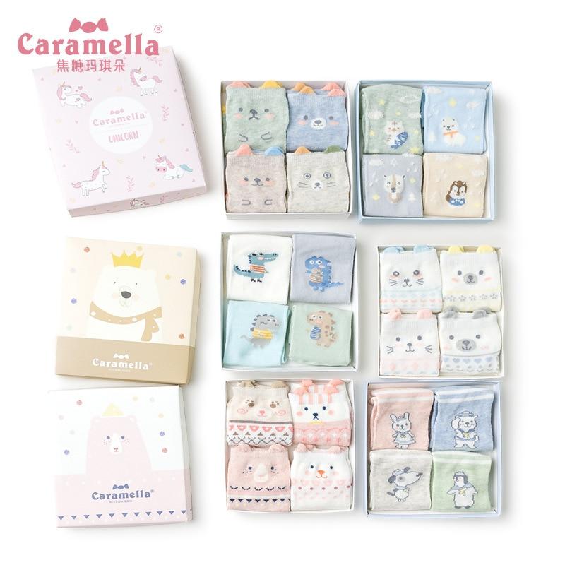 Caramella New Summer Sock Women Three-Dimensional Cartoon Kawaii Ankle Cotton Breathable Comfort Sox Female Hosiery Box 4 Double