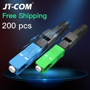 200PCS Fiber Optic Fast Connector FTTH SC APC Single Mode Fiber Optic Adapter SC UPC FTTH SC Fiber Connector Field Assembly